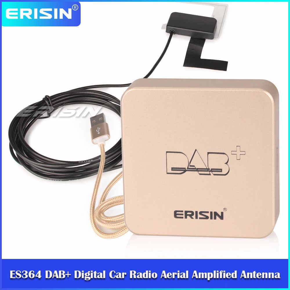 Erisin ES364 Dab + Digitale Autoradio Antenne Amplified Antenne Voor Android 7.1/8.1/9.0/10.0 Auto radio Dvd