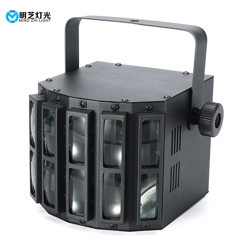 30W RGBW 4in1 Mini Derby Club Party LED Laser Flash Disco Double Butterfly Light DMX512 Stage Lamp DJ Equipments KTV Disco Light
