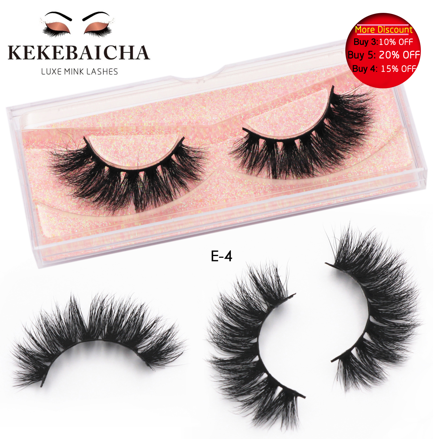 KEKEBAICHA False Eyelashes Crisscross 3D Mink Lashes Dramatic Mink Lashes Makeup Handcrafted Mink Hair Lashes Soft Eyelashes