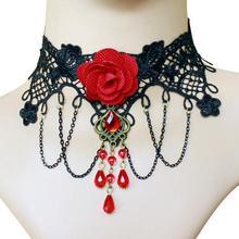 Caliente Sexy gótico Chokers rojo rosa cristal negro encaje collar gargantilla collar Vintage mujer novia joyería al por mayor