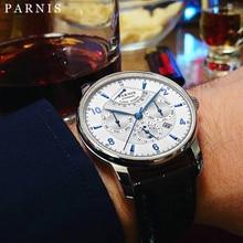 Moda Parnis 43mm automatyczna faza księżyca rezerwa chodu luksusowe Top markowy Miyota mechaniczny zegarek Winder PA6062 A prezent mężczyźni 2020