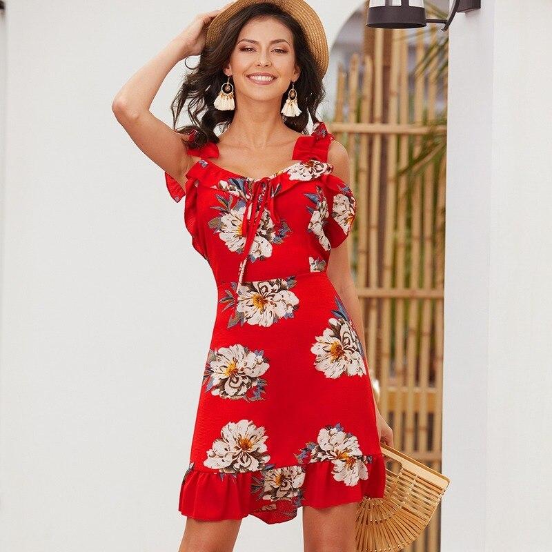Chic Floral Women Summer Dress Korean High Waist Bohemian Casual Sundress 2019