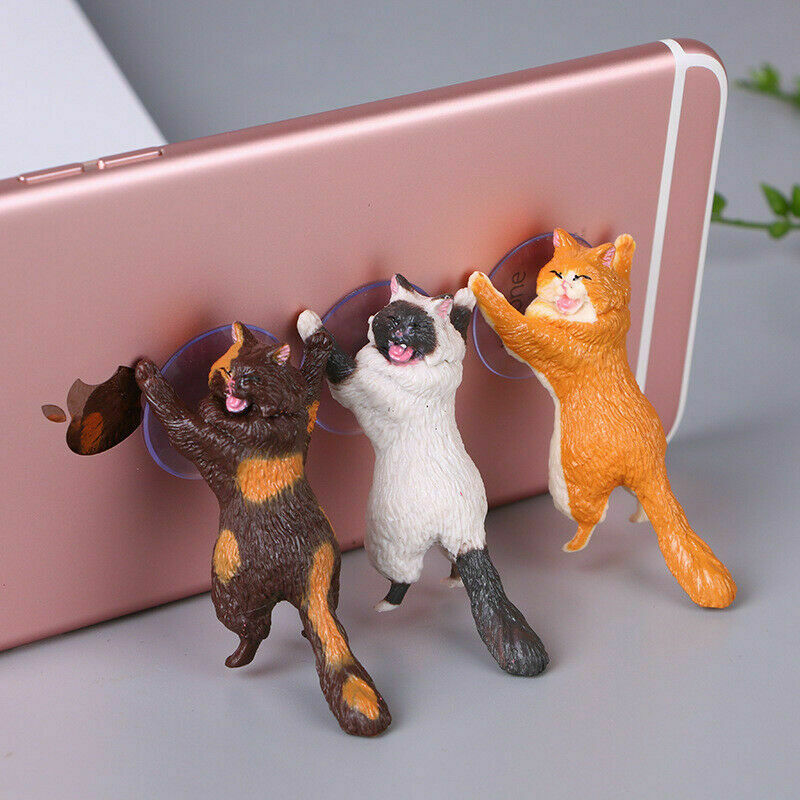Phone Holder Universal 1PC Resin Cute Animal Mobile Stand Portable Support Smartphone Cats Sucker Mini Phone Holder Stands 2019