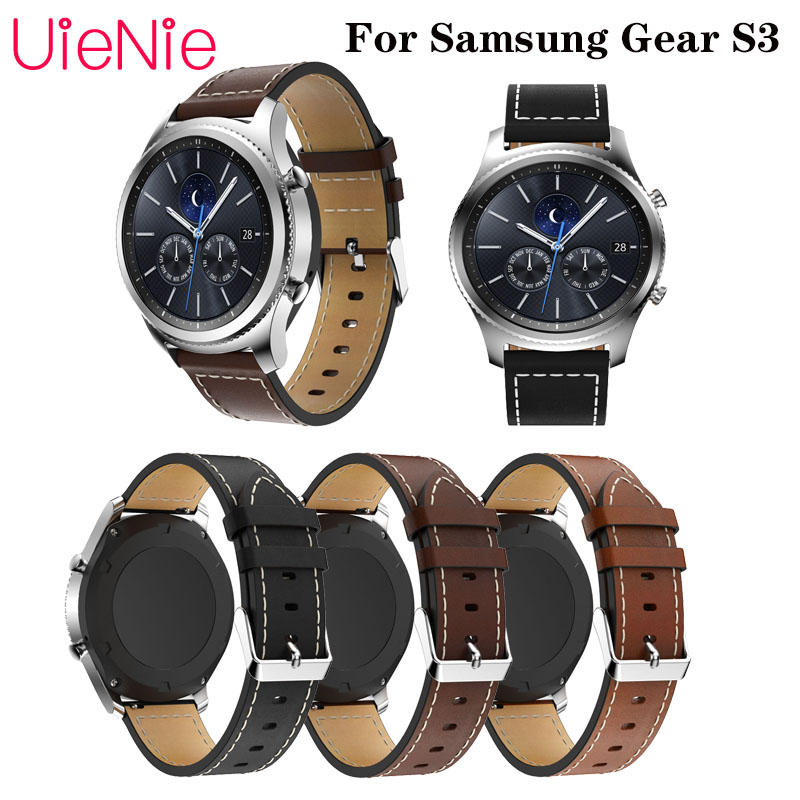 20mm 46mm Leather Strap For Samsung Gear S3 / Galaxy 46mm Business Quick Release Frontier/classic Watchband For Huawel Watch GT