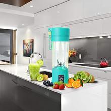 Licuadora portátil de 6 cuchillas de 400ml mezcladora de botellas de vaso para zumo de frutas recargable por USB