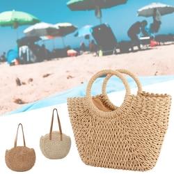 Straw Bag Women's Summer Rattan Bag Handmade Woven Circle Bohemia Beach Handbag Wicker Bag bolso mimbre