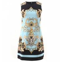 Autumn Vintage Designer Dress 2020 Spring Summer Women Fashion New Sleeveless Beading Sky Blue Prit Elegant Dress