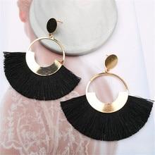 CRLEY Boho Fan Fringe Tassel Earrings for Women Gold Circle Dangle Pink Red Black Fall New Arrival Orange Statement