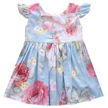 1-4 years old baby girls smock button floral dress Newborn Toddler Infant Baby Girls Summer Dress Casual Princess Party Dresses floral embroidered jacquard bodice smock dress