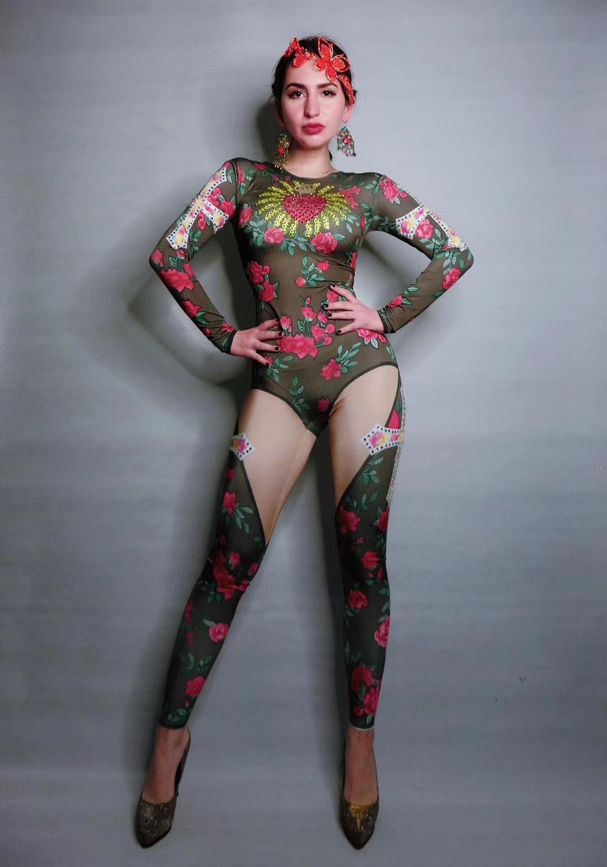 Retro Enchanting Rose Floral Print Rhinestone Jumpsuit Nightclub Bar Concert DJ Singer/dancer Costume
