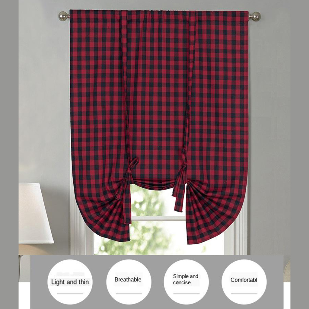 2 Pack Buffalo Check Plaid Cotton Tie Up Shades Farmhouse Style Gingham Rod Pocket Window Curtain for Kitchen 42x63 Inches White and Black Red and Black