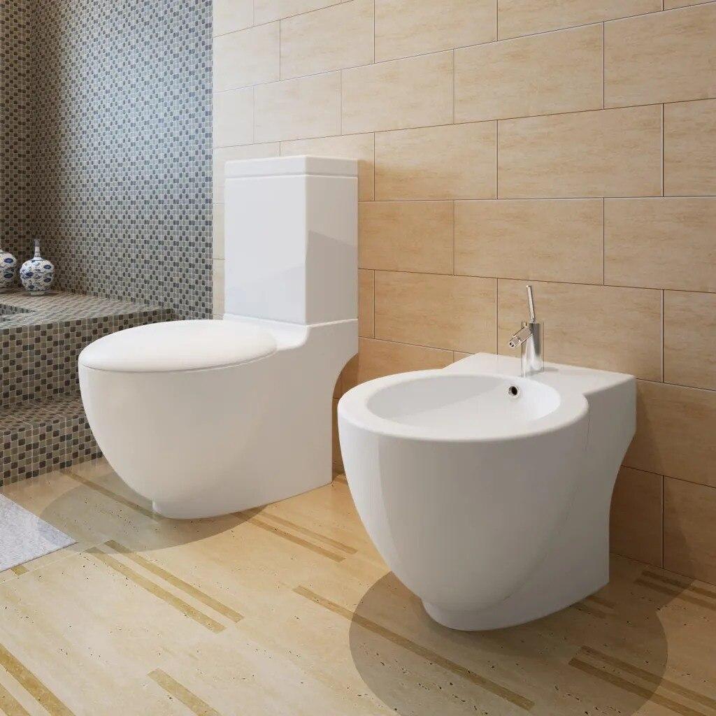vidaXL Stand Toilet Bidet Set White Ceramic 270059