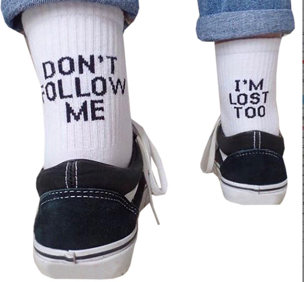 MYT_0216 Black Lost Socks Inscription Dont Follow Me I Am Lost Funny Lettering Black Socks Streetwear Pop Off Socket Unisex