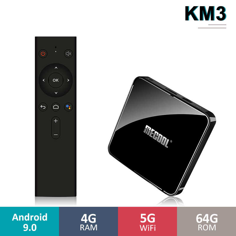 Mecool KM3 Android Smart TV Box S905X2 4GB LPDDR4 64GB Android 9.0 5G WIFI BT4.0 commande vocale TV coffret Google certifié