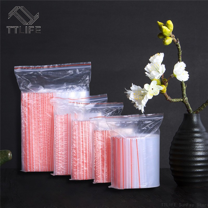 100 Pcs Plastic Bags Ziplock Food Packaging Jewelry Small Zip Lock Bags Clear Fresh-keeping Dustproof Reclosable Candy Storage