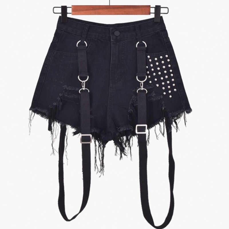 Hitam Tali Mini Denim Celana Pendek Wanita Jeans Punk Lubang Rumbai Biru Pastel Goth Pantalones Vaqueros Mujer Micro Manik-manik Dekorasyon
