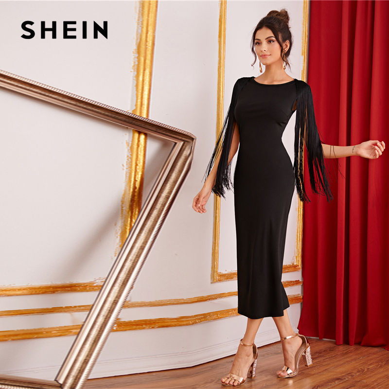 Image 5 - SHEIN Black Solid Fringe Detail Split Back Pencil Party Dress Women 2019 Autumn Sleeveless Elegant Ladies Bodycon Midi Dresses-in Dresses from Women's Clothing