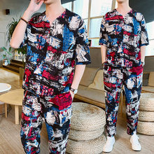 Sweatsuit Chinese Style Men Short Set Heren Kleding Contrast Mens Set 2 Piece Set Moda Hombre Tracksuit Men Set Conjunto Hombre(China)