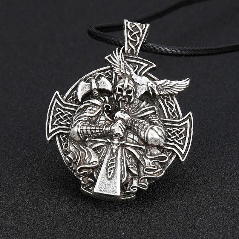 Punk ผู้ชายโบราณเงินไวกิ้ง oidn Anchor สร้อยคอนอร์ส amulet จี้ Cross Crow โลหะชาย Charms สำหรับ Paracord เครื่องประดับ