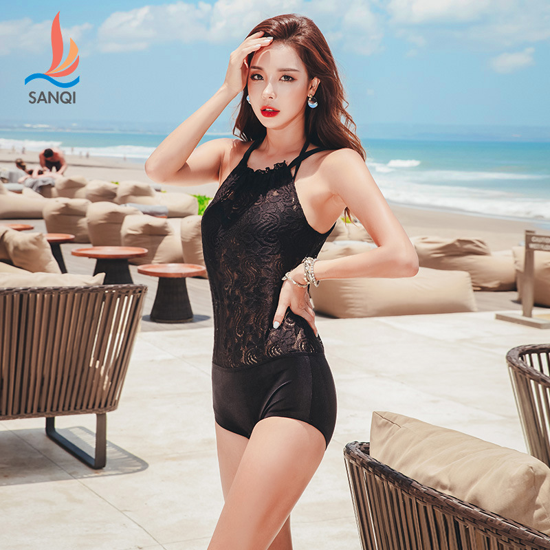 Manufacturers Direct Selling Sanqi Bathing Suit Women's Conservative Split Type Boxer Lace Slimming Belly Covering Small Bust Ga