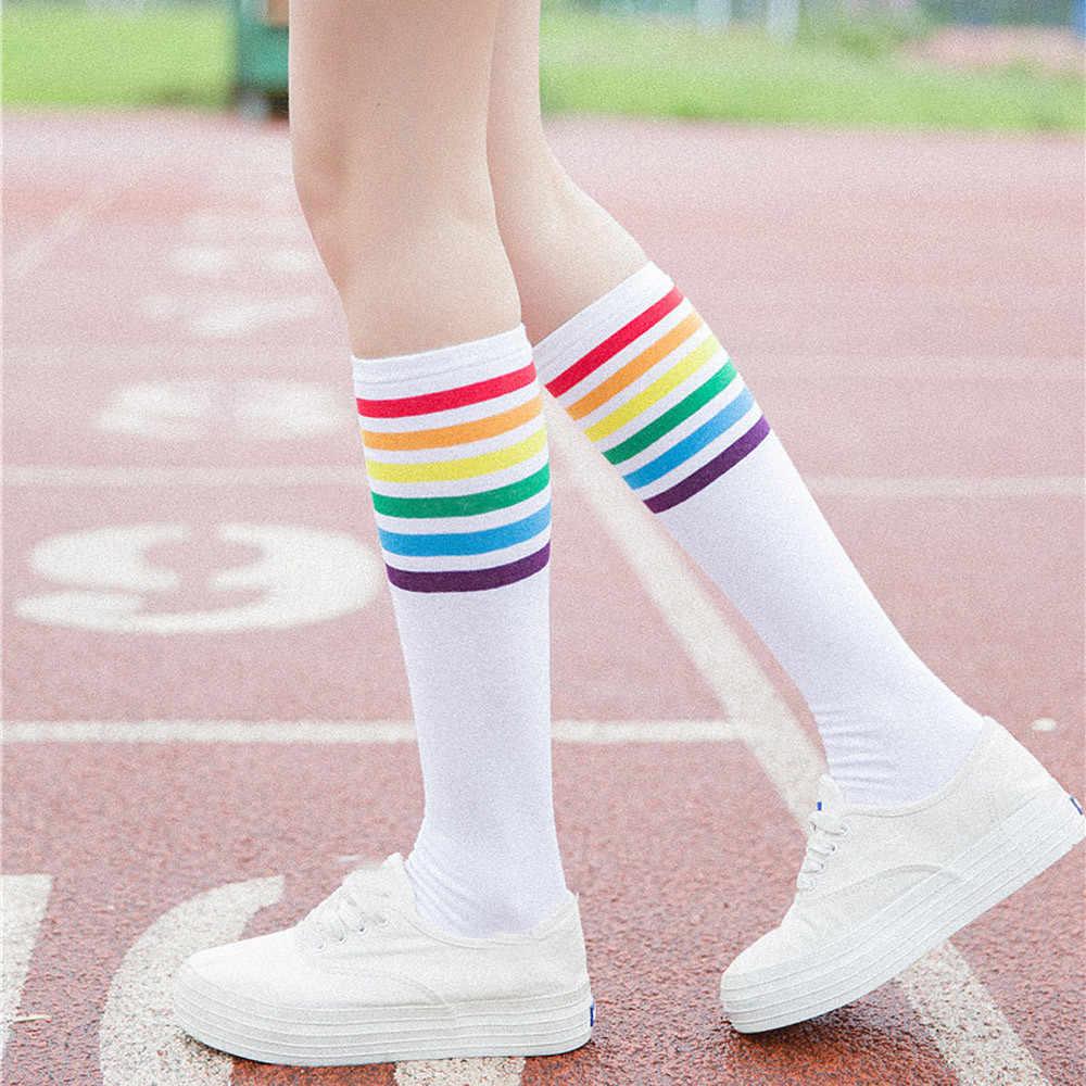 Antibakterielle Gesunde Mode hohe qualität Baumwolle Socken Über Knie Regenbogen Streifen Mädchen Bequeme lange Socke Weiche Elastische Socke # D