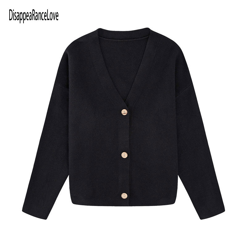 Женский Укороченный кардиган Disappearancelove, свитеры, женский черный свитер, однобортный свитер с V-образным вырезом, Женский вязаный кардиган
