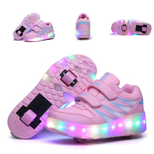 HYFMWZS Детские светодиодный кроссовки с двумя колесами для девочек; повседневная обувь с usb-зарядкой для мальчиков; Водонепроницаемая повседневная обувь; 27-43