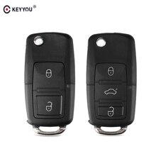 KEYYOU 2 3 Button Remote Flip Folding Car Key Shell Case Fob For VW For Volkswagen Bora Passat Golf Polo Jetta Touran no Blade