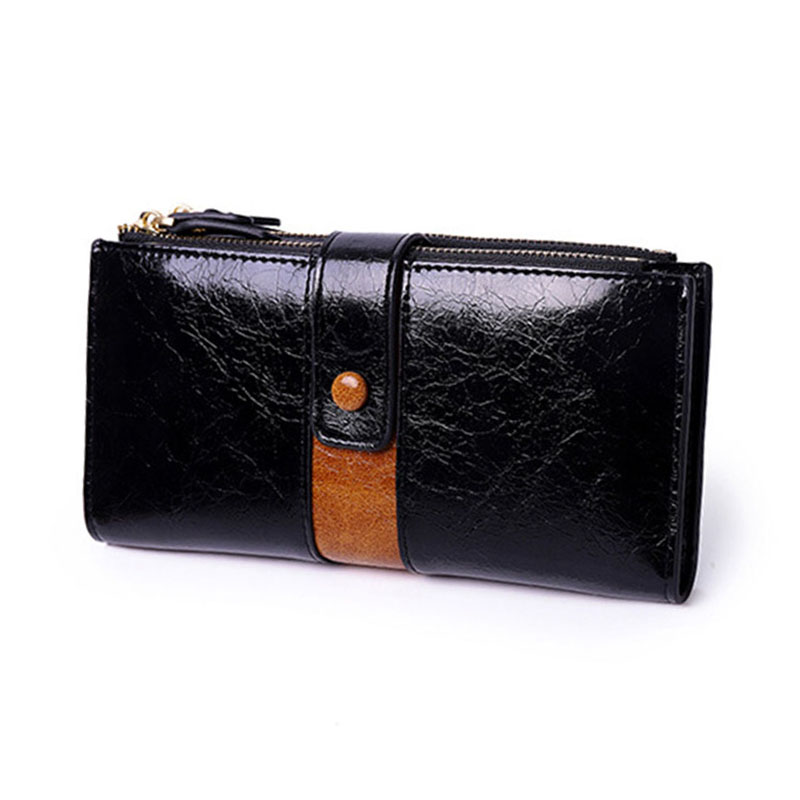 Women Wallets Female Fashion Splice Zipper Purse Women's Leather Wallet Cards Holder Long Large Capacity Purses
