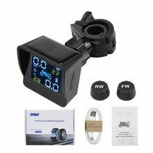 Motor de carga Solar USB TPMS para motocicleta, sistema de alarma de supervisión de temperatura de neumáticos con 2 sensores externos