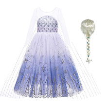 Snow Queen Baby Girl White Elsa Dress Anna Elsa Cosplay Costume Summer Princess Dress Halloween Birthday Party Wedding Dress
