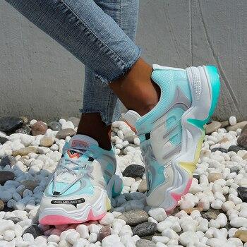Женские кроссовки на платформе 2020, модные повседневные кроссовки на массивной вулканизированной подошве, сетчатые, на шнуровке