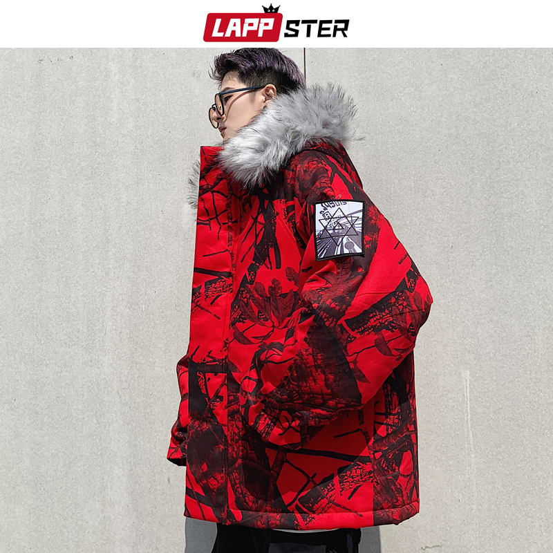 LAPPSTER Men Streetwear Winter Bomber Jacket 2019 Mens Fashions Windbreaker Hip Hop   Parka   Hooded Jackets Coats Feather Clothing