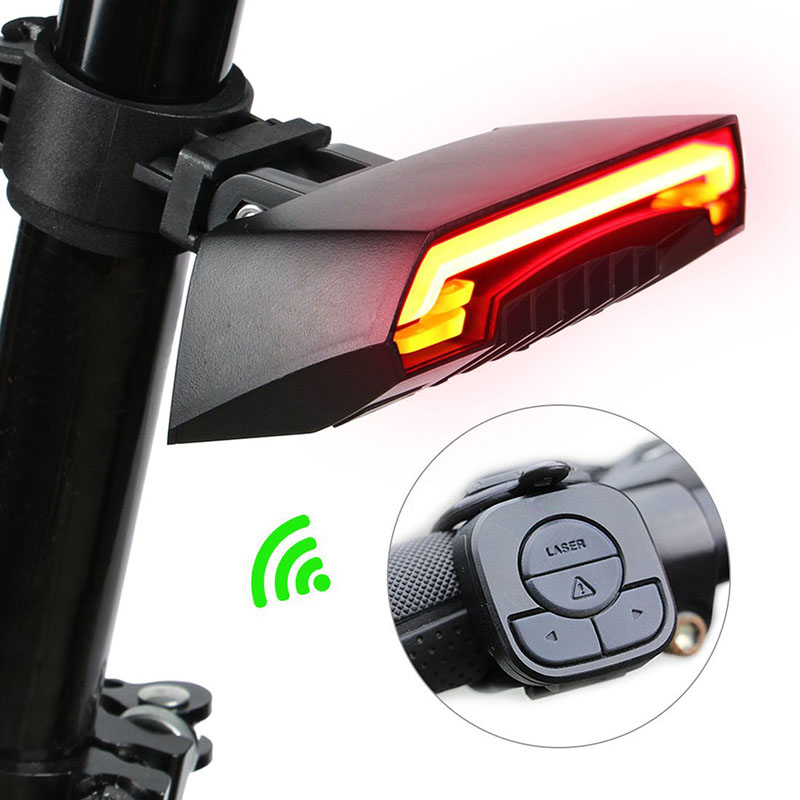 USB Chargeable Bicycle Wireless Rear Light Bike Turn Signal Remote Control Safety LED Warning Taillight