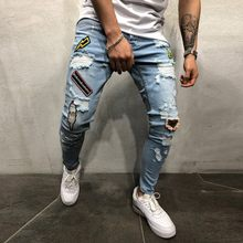 Jeans Men clothes 2019 Jeans Male Autumn Denim Cotton Straight Hole Pocket Trousers Distressed Jeans Pencil Pants Men Streetwear(China)