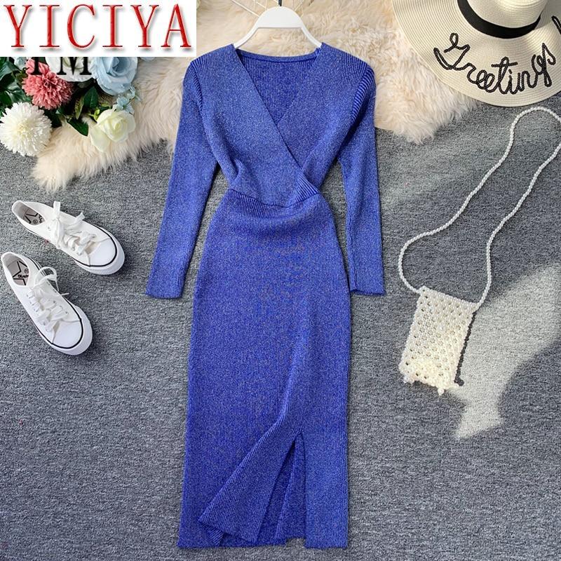 Sweater dress knitted dress with sleeve Elegant Ladies Office Dress V Neck Knitted Sweater Dress Workwear Korean Style Women