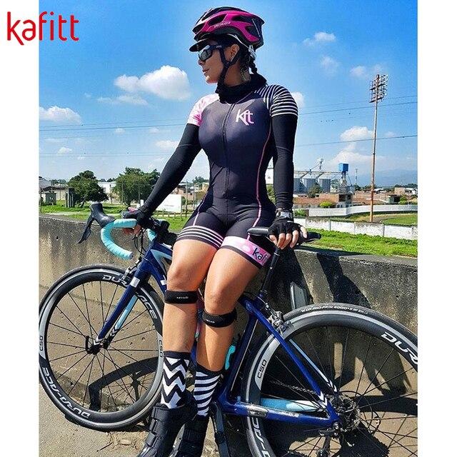 Kafitt triathlon terno conjuntos de camisa de ciclismo feminino uniforme manga longa skinsuit macacão macaquinho ciclismo feminino 2