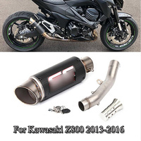 For Kawasaki Z800 Slip On Exhaust System Pipe Connect Mid Link Pipe Exhaust Muffler Pipe With DB Killer Moto Modified 2013 2016