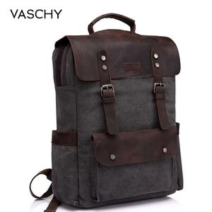Image 1 - Vaschy 革ノートパソコンのバックパック旅行レジャーカジュアルキャンバスキャンパススクールリュックサック 15.6 インチのラップトップコンパートメント