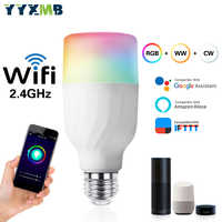YYXMB commande vocale intelligente WiFi ampoule Compatible Amazon ECHO/Google Home/IFTTT RGB + WW + CW Dimmable lampe de WiFi LED
