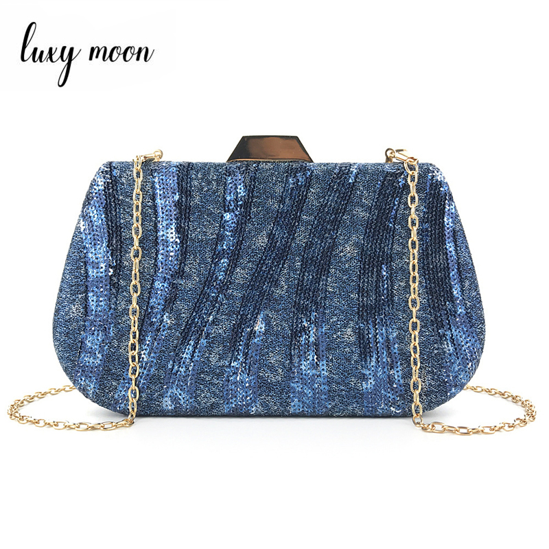 Luxy Moon Women Clutch Evening Bag Blue Green Sequin Handbag Wedding Purse Luxury Design Crossbody Shoulder Bag ZD1511