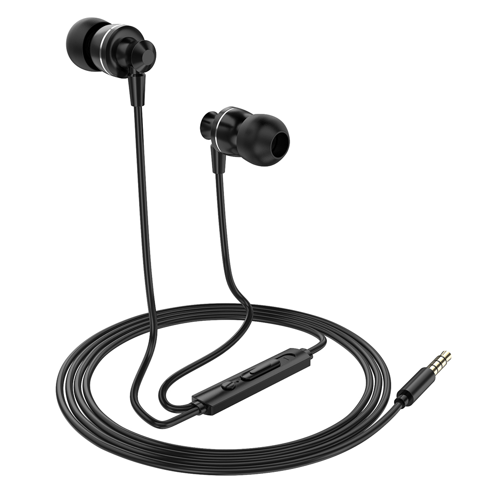 PTM D11 Wired Earphones Stereo Gaming Headset Metal Headphones with In-line Control Microphone for Smartphones Tablet PC Laptop