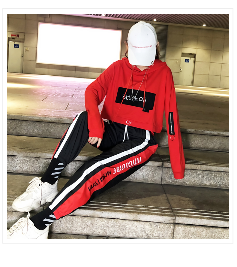 Tide brand suit chandal mujer 2 piezas female autumn Korean street dance hip hop leisure bf sports net red two-piece set women 29