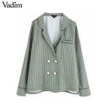 Vadim 여성 세련된 더블 브레스트 프린트 블라우스 다이아몬드 버튼 긴 소매 pajames 스타일 셔츠 여성 인과상의 블라우스 lb625