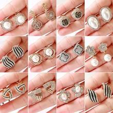 Wysokiej jakości Rhinestone pearl geometryczne z kryształkami kształt nausznice nie Piercing dla kobiet ślub luksusowe kolczyki bez otworu nowość