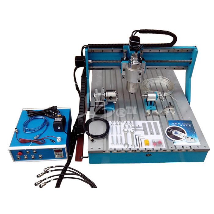 Higher speed 2200w <font><b>4</b></font> <font><b>axis</b></font> rotary <font><b>6090</b></font> 3d <font><b>cnc</b></font> router milling lathe cutting engraving carving machine for wood stone metal image