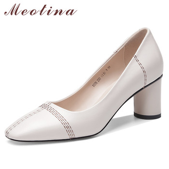 Meotina High Heels Women Pumps Natural Genuine Leather Round High Heels Shoes Real Leather Square Toe Office Lady Shoes Size 39