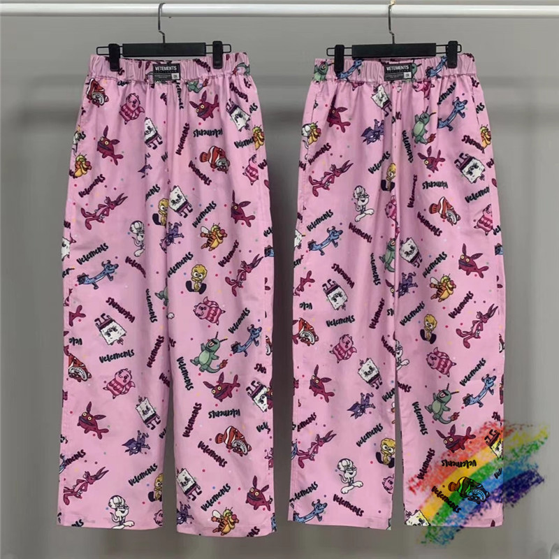Pink Vetements Straight Sweatpants 1:1 Top Quality VETEMENTS Pants Men Women Cartoon VTM Trousers