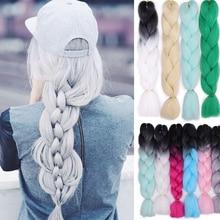 Вязанные крючком плетеные волосы для наращивания, каньялоны для женщин, синтетические цветные Омбре косички, косички для афро-американских Kanikalon