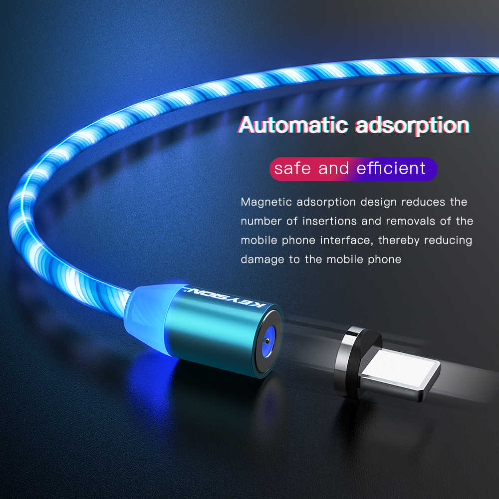 Keysion Kabel Mengalir Lampu LED USB Kabel Micro USB untuk Samsung Tipe C Pengisian untuk Xiaomi untuk iPhone Magnet Charger kabel